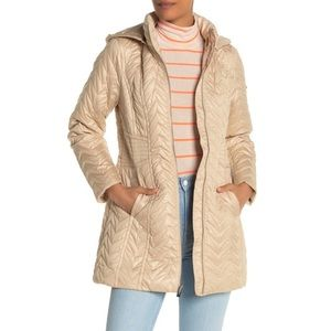 Via Spiga Stone Quilted Zip Hooded Jacket S